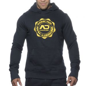 Addicted French Terry Embroidered Hoodie AD262 Navy