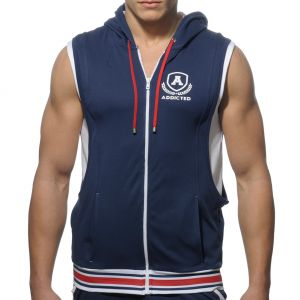 Addicted Zip Sleeveless Cotton Hoodie AD334 Navy