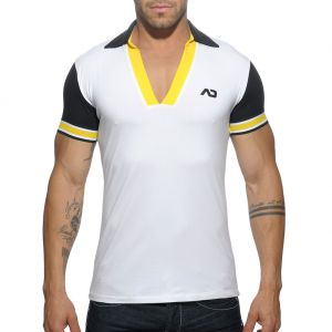 Addicted Sleeve Contrasted Polo AD526 White
