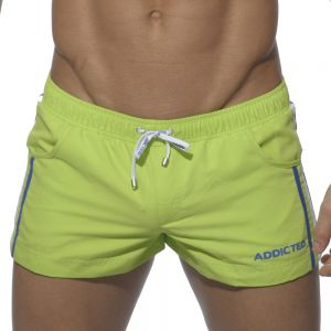 Addicted Racing Stripe Swim Shorts ADS025 Lemon Green