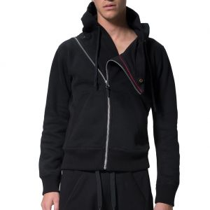 LEVEL Sam Asymmetrical Cropped Yoga Hoodie L1818 Black