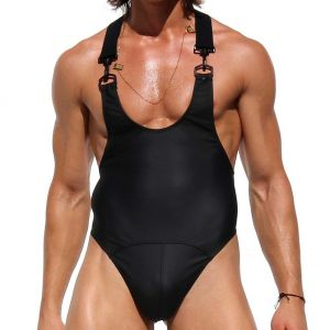 Rufskin Morgan Rubberized Thong Bodysuit Matte Black