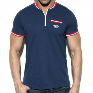 ES Collection Short Zip Mao Polo POLO31 Blue
