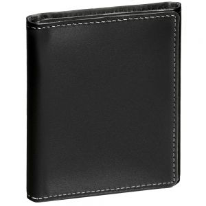 Stewart Stand Stainless Steel Leather Trifold Wallet TF2001 Black