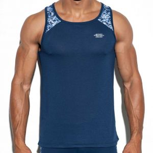 ES Collection Camouflage Shoulder Tank Top  TS199 Navy