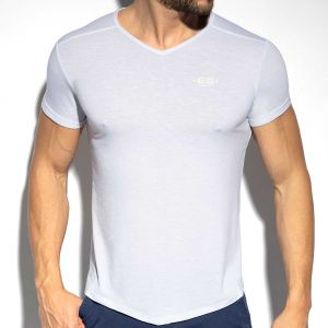 ES Collection V-Neck Flame T-Shirt TS283 White