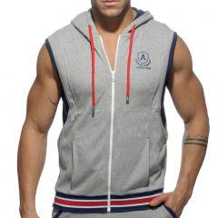 Addicted Zip Sleeveless Cotton Hoodie AD334 Heather Grey Mens Underwear