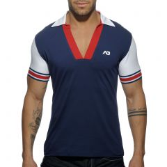 Addicted Sleeve Contrasted Polo AD526 Navy Mens T-Shirt