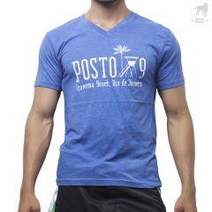 Carioca Posto 9 V Neck Tee A104331 Vintage Royal Blue Mens Shirts