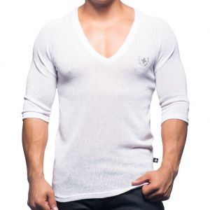 Andrew Christian Mykonos Net Deep V-Neck Tee 10220 White