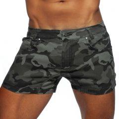 Addicted Camo Short Jeans AD829 Grey Camo Mens Pants